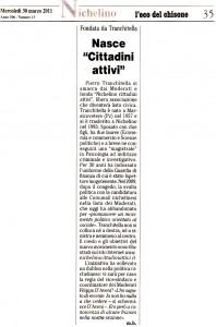 """Rassegna Stampa """"L'Eco del Chisone"""" – 30 Marzo 2011"""